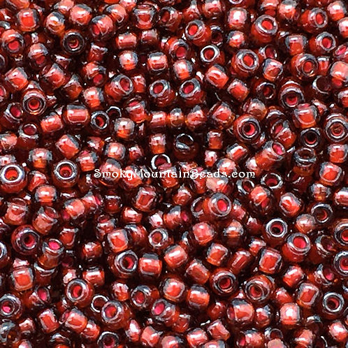 11-373B Topaz-Lined Dark Rust 11/0 Seed Beads | SmokyMountainBeads.com