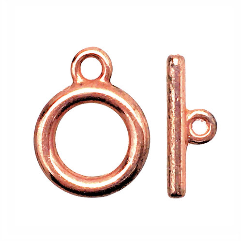 Toggle Clasp • Twisted Round • 14x11mm • Antiqued Copper-Plated Pewter • 44TOG-70-1411-17 | Smoky Mountain Beads