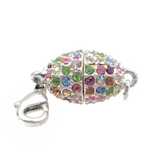 Beadelle Pavé Magnetic Clasp • Oval • 22x11mm • Rhodium-Plated • 44MAG-2211-MULTI-61 | Smoky Mountain Beads