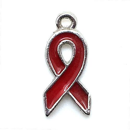Awareness Ribbon Charm • Red • 20x9x2mm • 26100MTL-2009RD-11E | SmokyMountainBeads.com