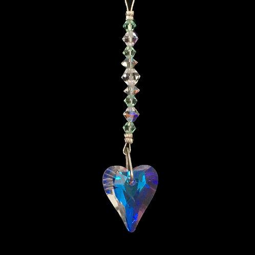 "Crystal AB Chrysolite Wild Heart  Suncatcher • Swarovski • 4 1/4"" • 05600SC-6240-238 | SmokyMountainBeads.com"