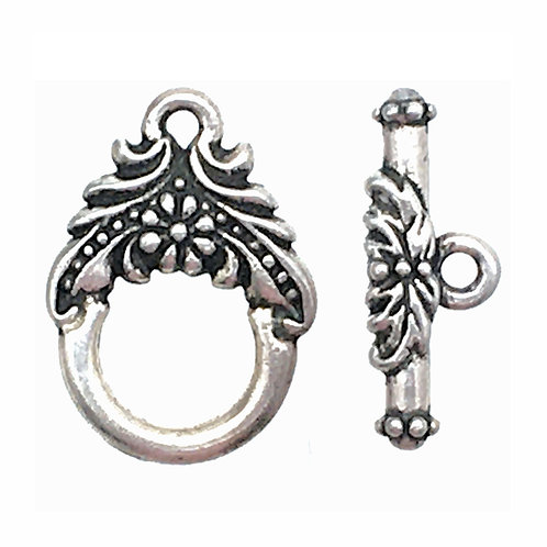 Garland Toggle Clasp • 17x12.5mm • Antique Silver-Plated • 44TOG-94-6028-12    Smoky Mountain Beads