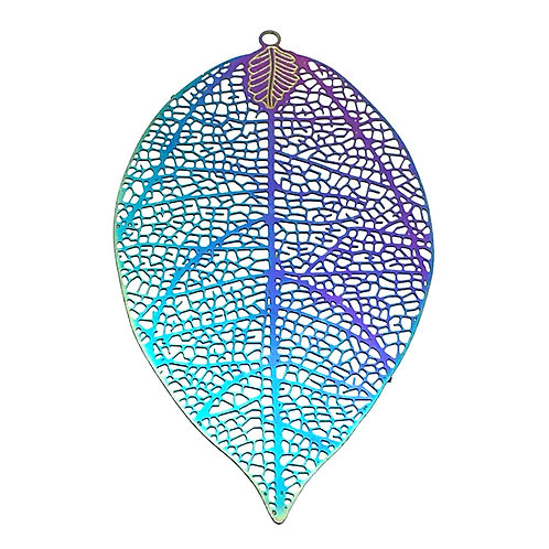 Leaf Filigree • Stainless Steel • Rainbow • 60x33mm • 4-37-6033-48 | SmokyMountainBeads.com