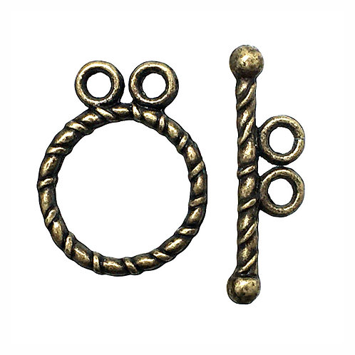 Toggle Clasp • Twisted Round 2-Strand • 15x12mm • Antiqued Brass-Plated Pewter • 44TOG-7047-1512-2-21   Smoky Mountain Beads