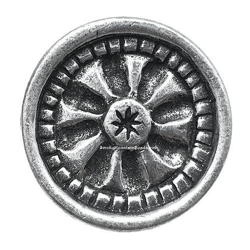 Mandala Pewter Shank Button • 17mm • DF0103-50   SmokyMountainBeads.com