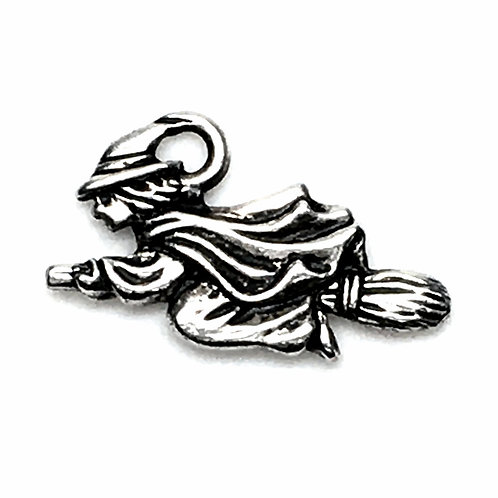 Witch on Broom Charm • 19x23mm • 94-2379-12 | SmokyMountainBeads.com