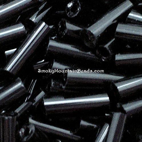 Opaque Black Bugle • 6mm • 0615-BB-9999   SmokyMountainBeads.com