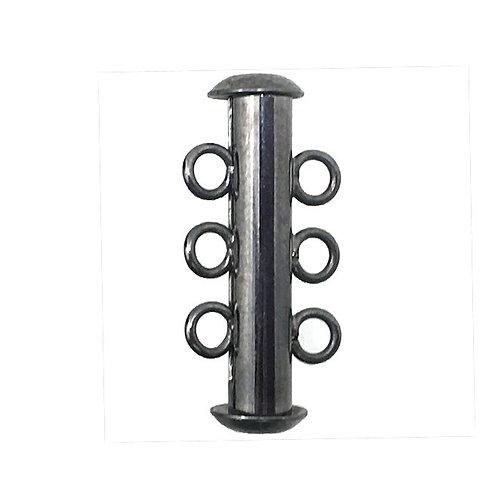 Slide Lock Clasp • 3-Strand • 21x6mm • Gunmetal-Plated • 44SLD-32106-13   Smoky Mountain Beads