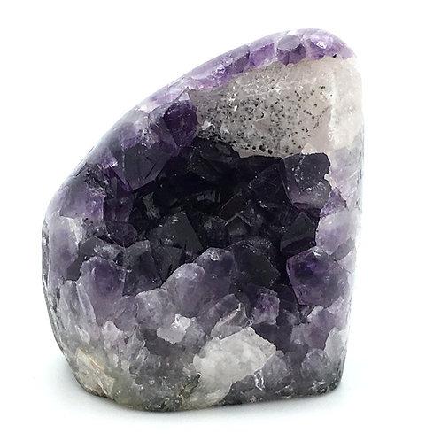 "Amethyst with Stilbite in Apophyllite • Brazil • 467.3 grams ~ 3.2x2.75x2.7"""