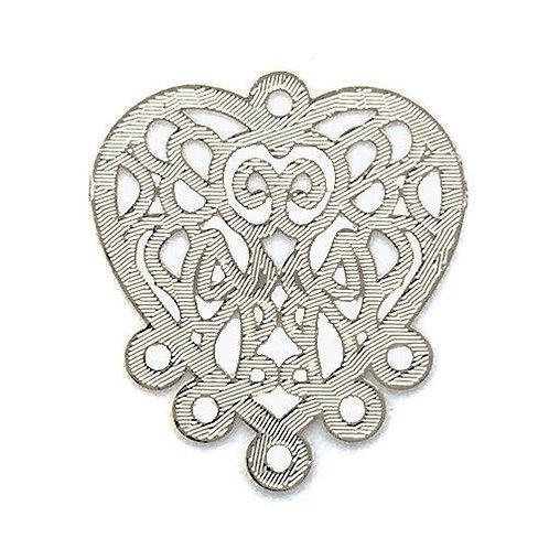 Heart Filigree Chandelier • 22x20mm • Silver-Plated • 41-952220-11 | SmokyMountainBeads.com