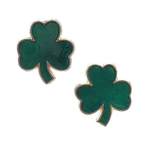 Shamrock Stud Earrings • Gold-Plated • ERGP-1715-SHM | SmokyMountainBeads.com