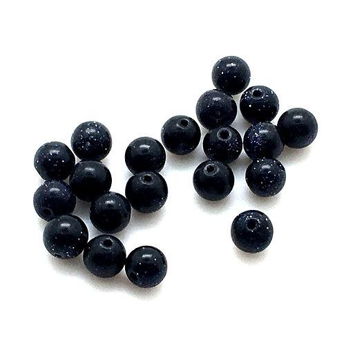 Blue Goldstone Round Beads • 4mm (20) • 170100GS-04BL | SmokyMountainBeads.com