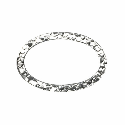 Hammered Oval Link • 20x14mm • Silver-Plated • 33LINK-692014-11 | SmokyMountainBeads.com
