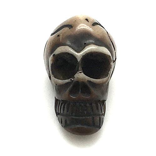 Acrylic Skull Bead • 33x22x20mm • Brown (1) • 196100ACR-3322-BROWN | Smoky Mountain Beads