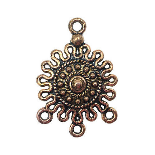 Sun Chandelier • 26x18mm • Antiqued Gold-Plated • 41-282618-26 | SmokyMountainBeads.com