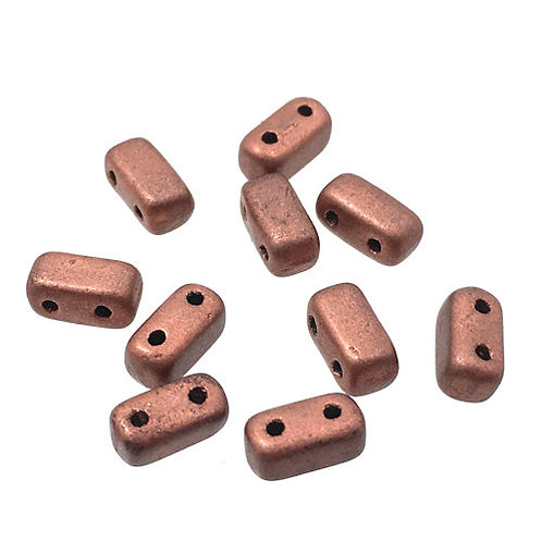 Matte Metallic Copper • Bricks • Czech • 3x6mm • 365-36-MK0177 | Smoky Mountain Beads