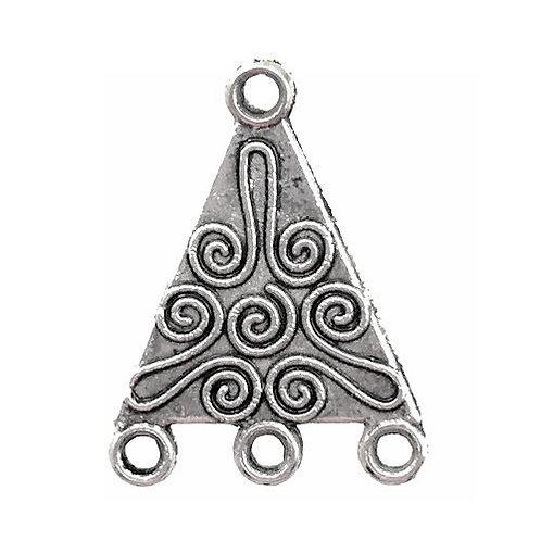 Triangle Swirls Chandelier • 22x16mm • Antiqued Silver-Plated • 41-732216-12 | SmokyMountainBeads.com