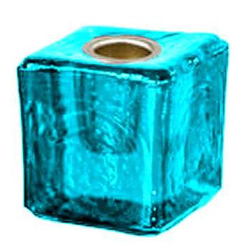 Glass Mini Cube Candle Holder • Aqua Blue | SmokyMountainBeads.com