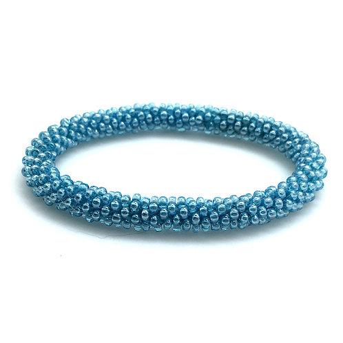 Bead Crochet Bracelet • Aqua Blue • 8-inch • BR0010-08BC-AQUA | SmokyMountainBeads.com