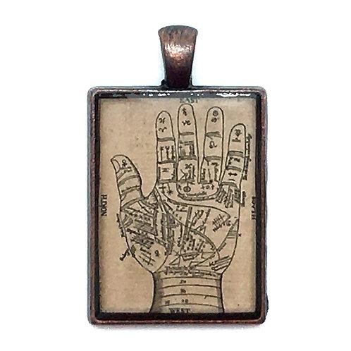 Palmistry Pendant Necklace • 45x27mm • 56100SL-4527A18-PALM | SmokyMountainBeads.com