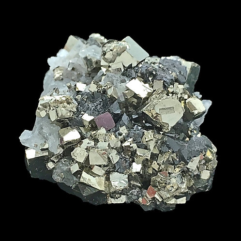 Cubic Pyrite Quartz Points Druzy • Peru • 21.8 grams ~ 34x31x19mm