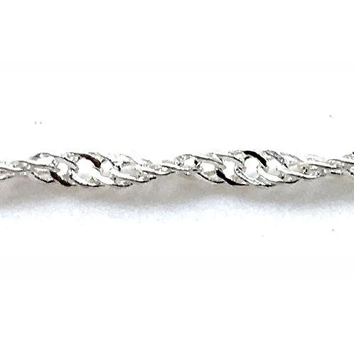 Curb Chain • Twisted Filed • 1x1.6x0.4mm • Silver-Plated • 36-CB-TF11604-11 | SmokyMountainBeads.com