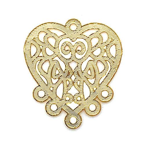 Heart Filigree Chandelier • 22x20mm • Gold-Plated • 41-952220-25   SmokyMountainBeads.com