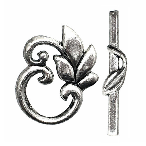Toggle Clasp • Leaves • 24x19mm • Antique Silver-Plated • 44TOG-37-2419-12  | Smoky Mountain Beads