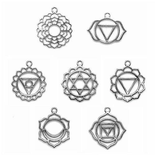 Chakra Symbol Charms • Set of 7 •  23x29mm-31x28mm • 26100MTL-34000-12 | Smoky Mountain Beads