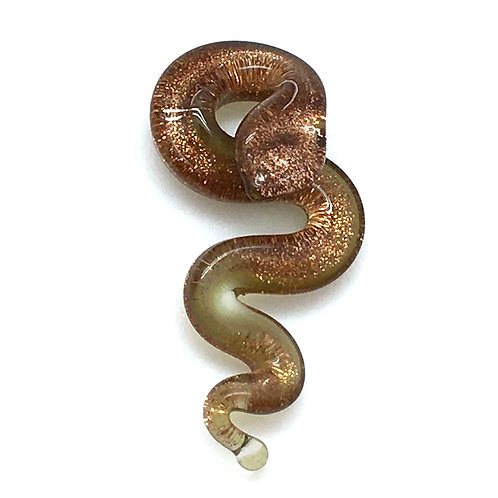 Snake Pendant • Gold Dichroic Lampwork • PE-56LW-SNK-GOLD-1-4 | Smoky Mountain Beads