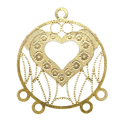 Heart Filigree Chandelier • 27x22mm • Gold-Plated • 41-952722-25 | SmokyMountainBeads.com