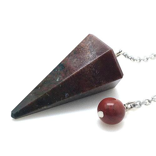Bloodstone Pendulum • India • 9.5 grams ~ 33x19mm | SmokyMountainBeads.com