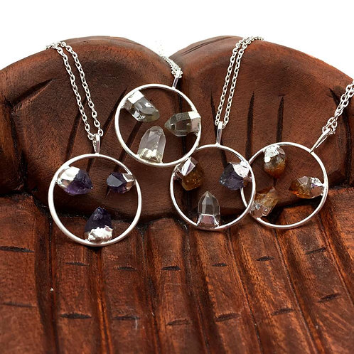 Triple Point Pendant Necklaces • Amethyst, Citrine, Quartz & Mixed