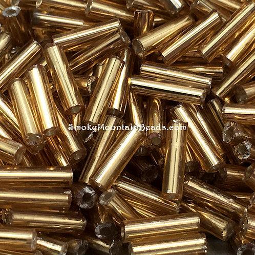 Silver-Lined Gold Bugle • 7mm • 0720-BB-17050 | SmokyMountainBeads.com