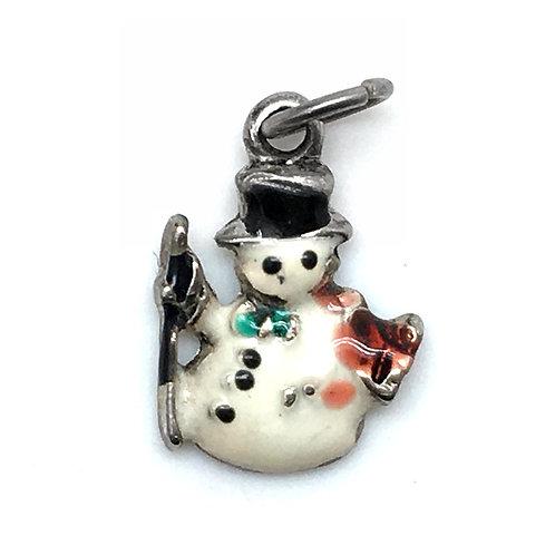 Snowman with Broom Charm • 20x15mm • 26100MTL-2015XMSN-E12   SmokyMountainBeads.com