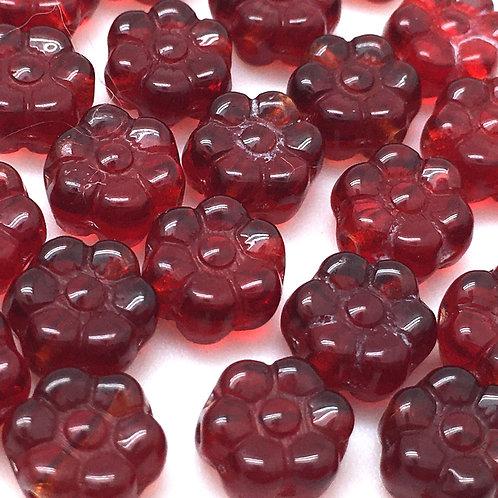 Siam Ruby Flower Czech • 8x4mm • 120-84-9008 | Smoky Mountain Beads