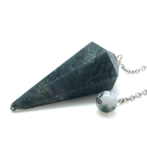 Moss Agate Pendulum • 12.9 grams ~ 43x19mm | SmokyMountainBeads.com