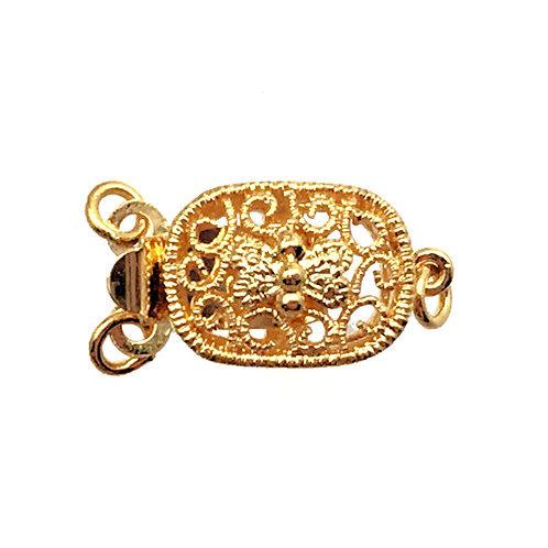 Box Clasp • 2-Strand • Oval Filigree • 16x9mm • Gold-Plated • 44BOX-269-1609-25 | Smoky Mountain Beads