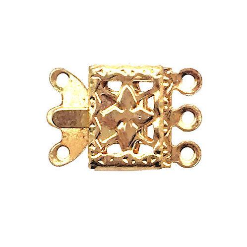 Box Clasp • 3-Strand • Rectangle Filigree • 15x11mm • Gold-Plated • 44BOX-330-1511-25   Smoky Mountain Beads