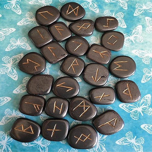 Hematite Rune Set • Gift Boxed with Chart & Bag
