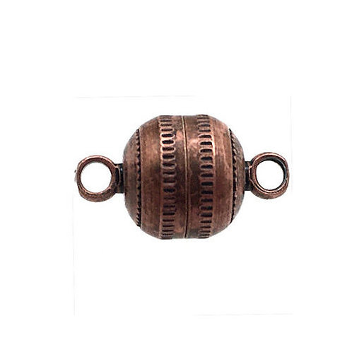 Magnetic Clasp • Round • 14x8mm • Antiqued Copper • 44MAG-170-1408-18 | Smoky Mountain Beads