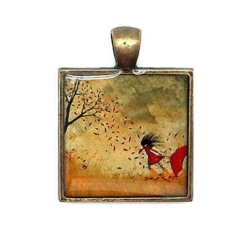 Windy Fall Day Pendant Resin Necklace • 37x28mm • 56100SL-3728A20-FWIND | SmokyMountainBeads.com