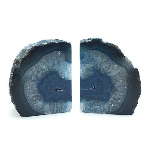 "Agate Geode Bookends • Brazil • 1.5 kg (1468g) ~ 6.5x4x2.5"""