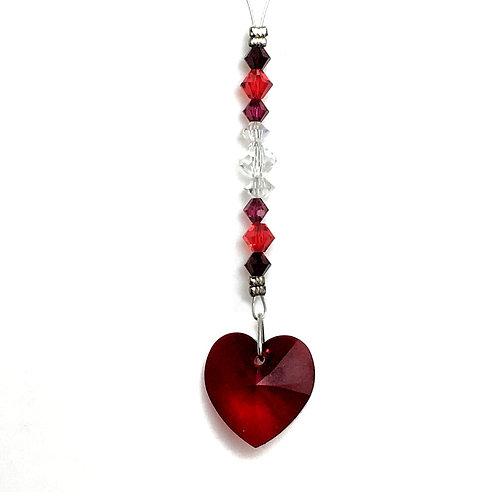 """Ruby Heart Wild Suncatcher • Swarovski • 4 1/8"""" • 05600SC-6228-501   SmokyMountainBeads.com"""