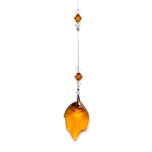 "Topaz Leaf Suncatcher • Swarovski • 8 1/2"" • 05600SC-6735-203 | SmokyMountainBeads.com"