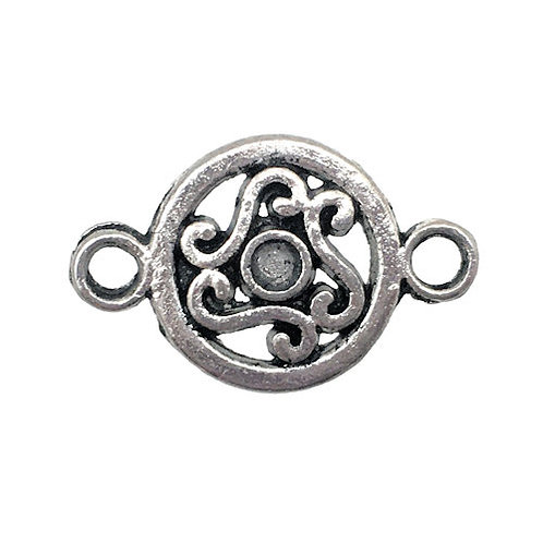 Link Filigree Scroll Round • 19x12mm • Antiqued Silver-Plated • 33LINK-701912-12 | SmokyMountainBeads.com