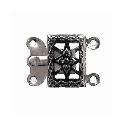 Box Clasp • 2-Strand • Rectangle Filigree • 15x11mm • Gunmetal-Plated • 44BOX-230-1511-13 | Smoky Mountain Beads