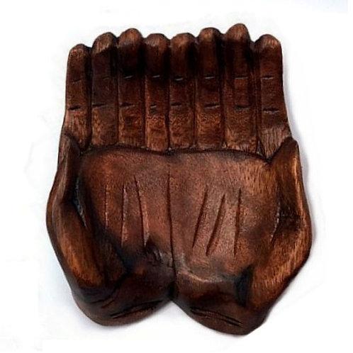 Wood Carved Hands Bowl