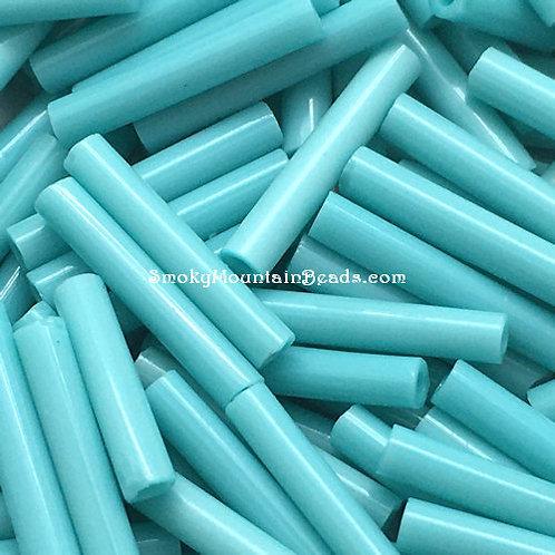 Opaque Turquoise 12x2mm Bugle • 1220-BB-413 | SmokyMountainBeads.com