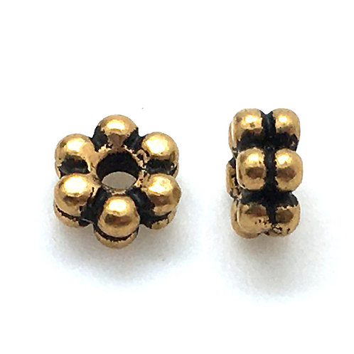 Double Daisy Spacer  • 3x6mm (2) • 94-5563-26 | Smoky Mountain Beads